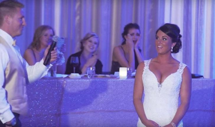Жених решил удивить невесту на свадьбе, заявив, что теперь их семья состоит из трех членов. Его сюрприз удался!