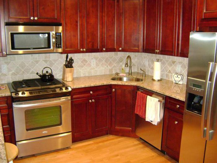 угловая раковина на кухне