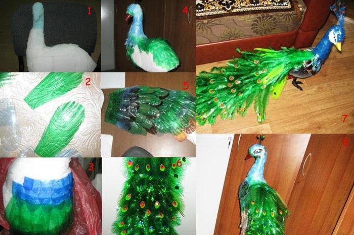 Сделать своими руками птицу из пластиковых бутылок 736