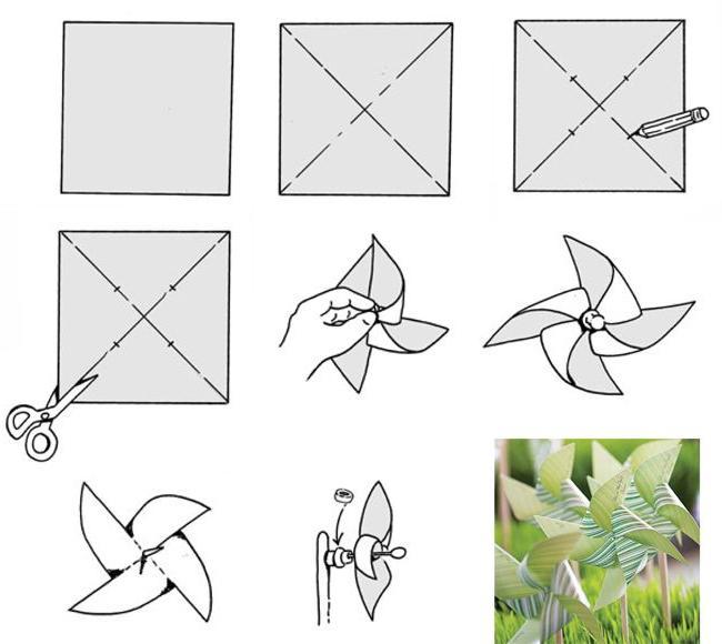 Как сделать мельницу из бумаги инструкция