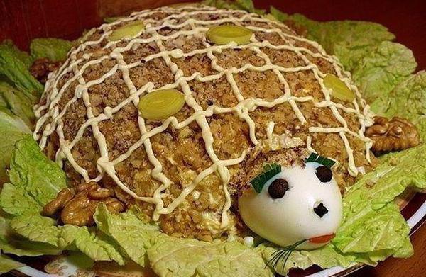 салат черепаха с курицей и яблоком калорийность