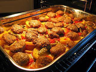 Картошка с тефтелями в духовке