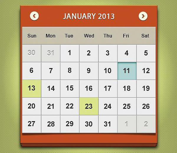 сделать перекидной календарь в фотошопе