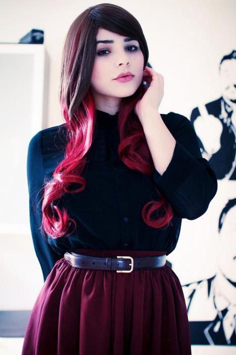цветное омбре на темные волосы