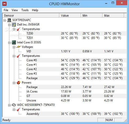 как узнать температуру процессора в windows 10 без программ