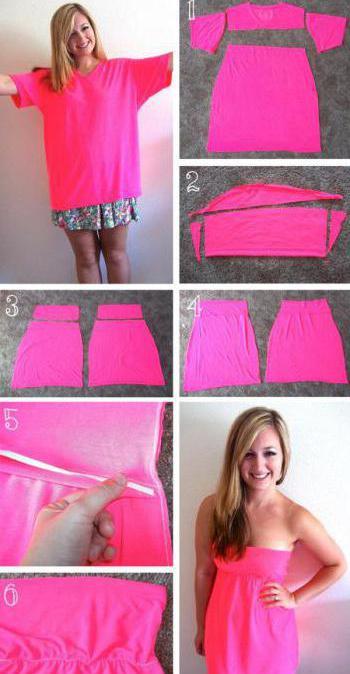 как из футболки сделать платье без шитья
