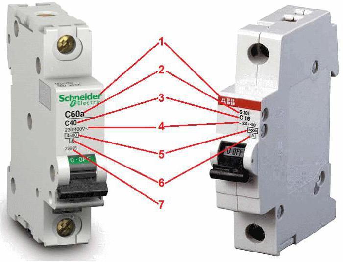 маркировка автоматических выключателей abb