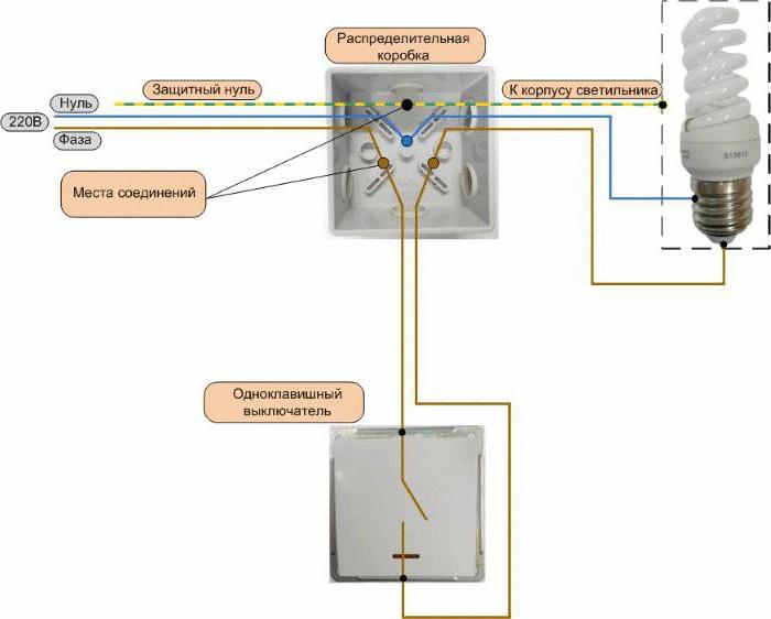 схема подключения одноклавишного выключателя к лампочке