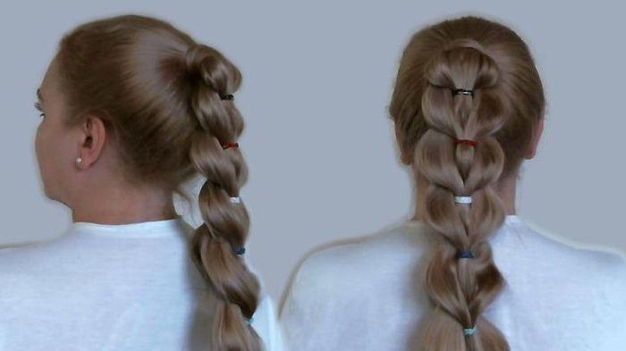 коса из хвостиков с резинками