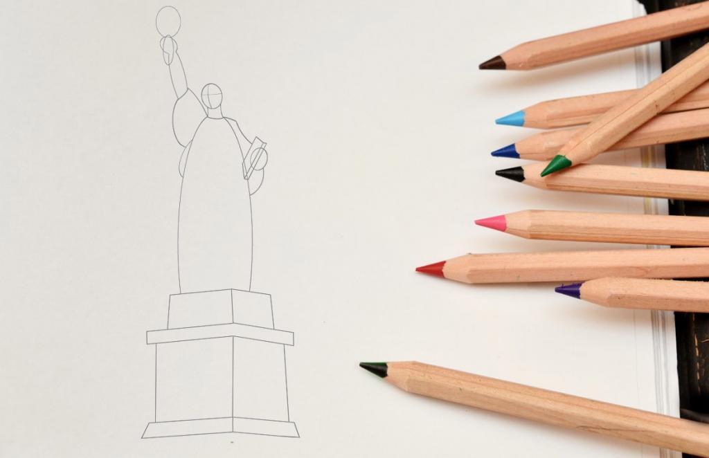 Рисуем статую Свободы - шаг 4