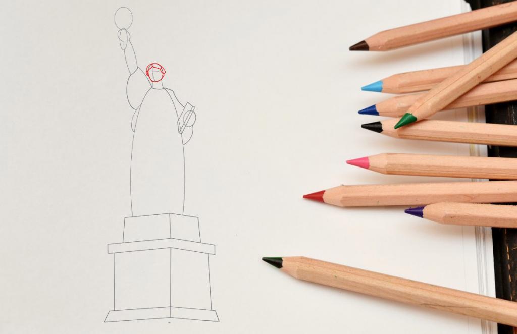 Рисуем статую Свободы - шаг 5