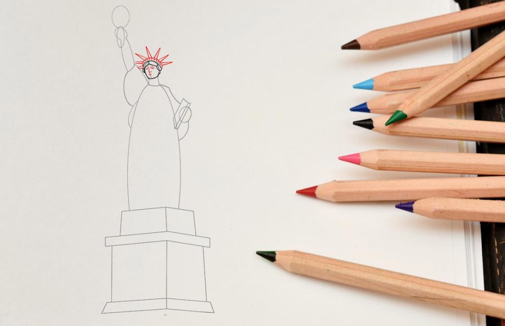 Рисуем статую Свободы - шаг 6