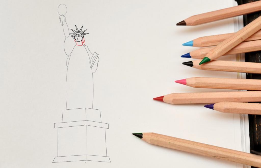 Рисуем статую Свободы - шаг 7