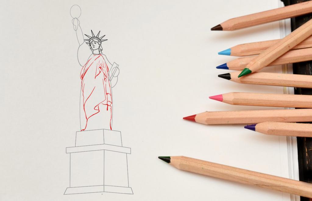Рисуем статую Свободы - этап 8