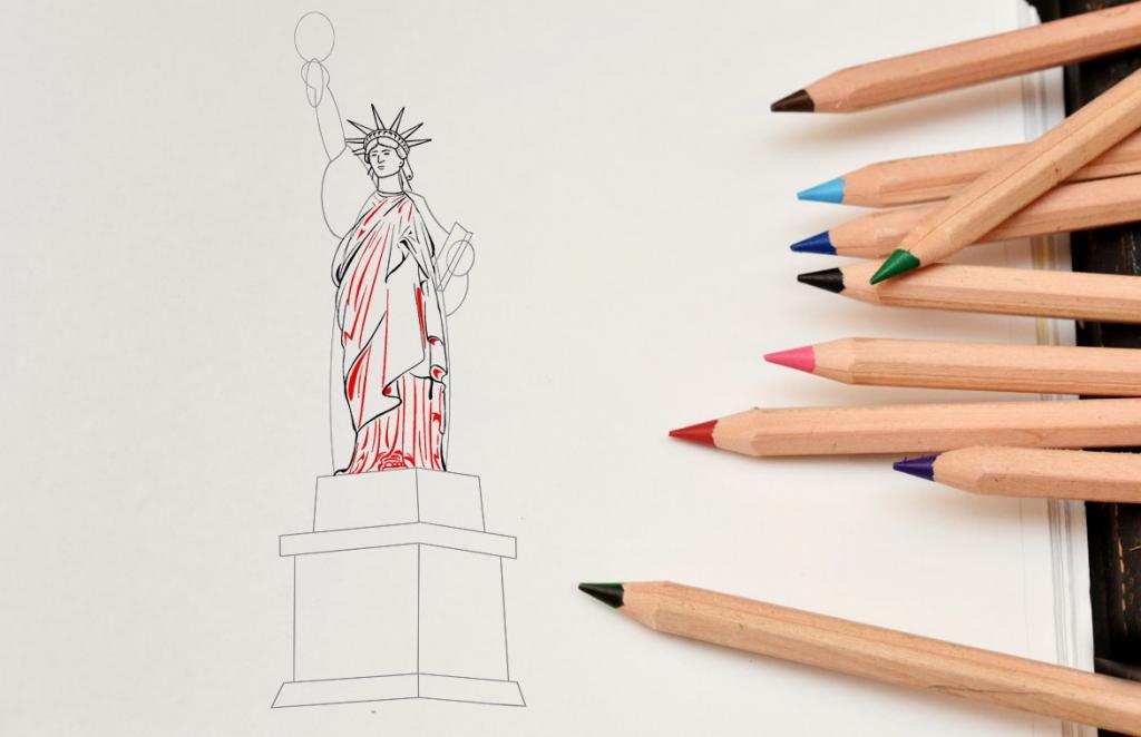 Рисуем статую Свободы - этап 9