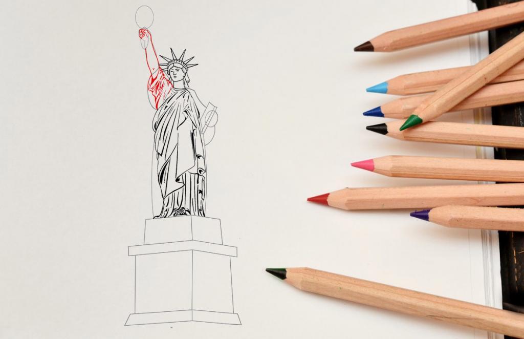 Рисуем статую Свободы - этап 10