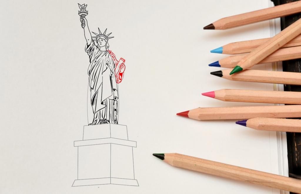 Рисуем статую Свободы - этап 12