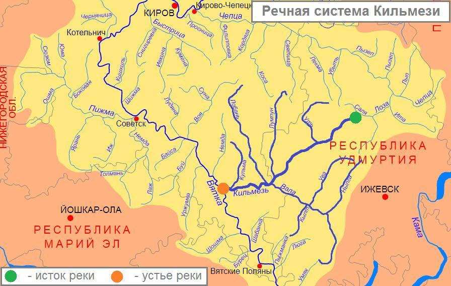 река Кильмезь на карте