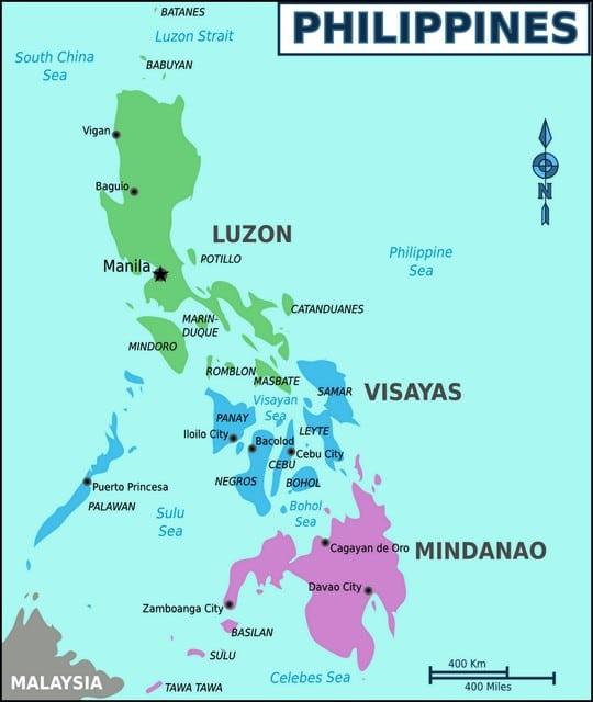 Карта островов Филиппины