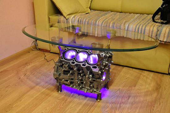 столик из блока двигателя