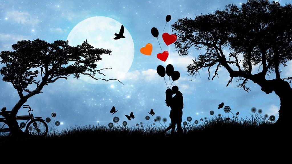 Влюбленные в лунную ночь