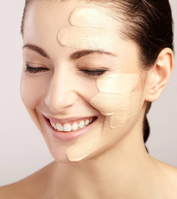 разные оттенки крема на лице