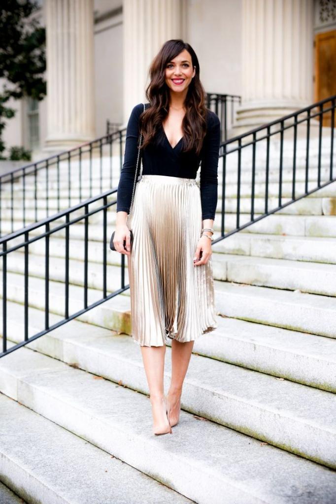 юбка гармошка с чем носить