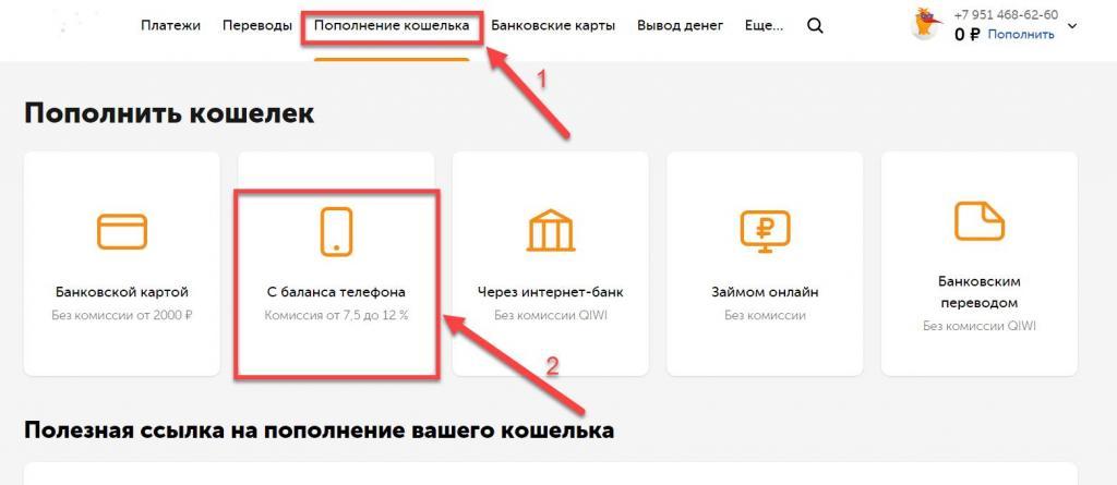 Совершить перевод с мобильного
