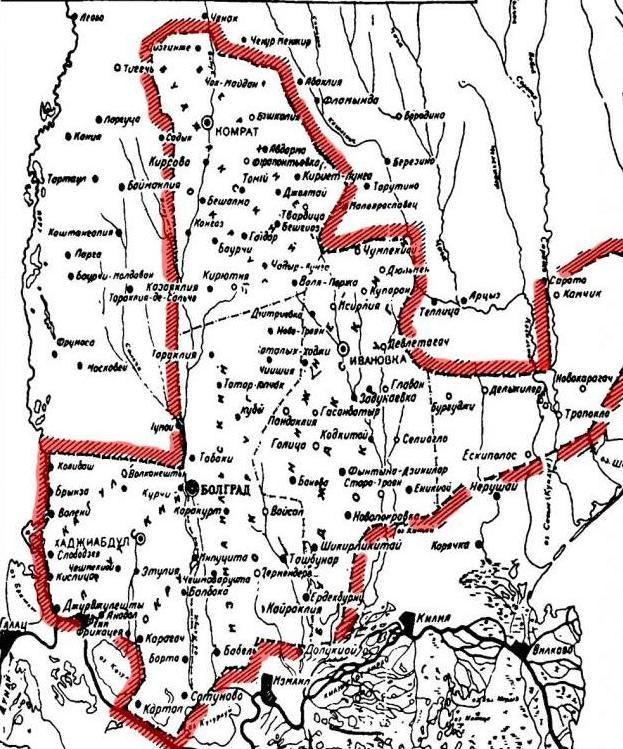 Карта Южной Бессарабии.