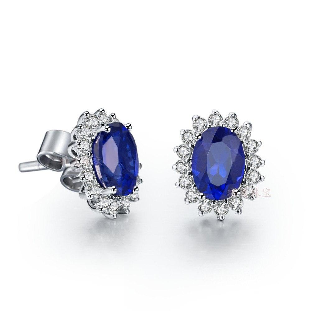 Серьги с голубым синтетическим бриллиантом