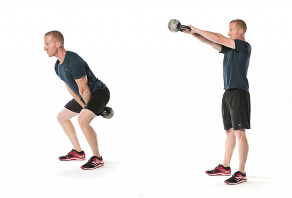 упражнения для спины с гирей