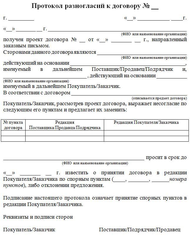 Пример протокола разногласий