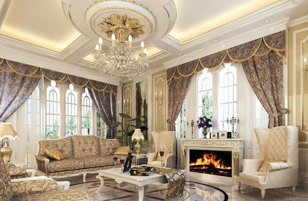 Классический потолок в гостиной