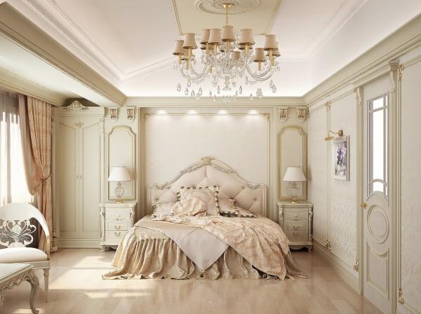 Классический потолок в спальне