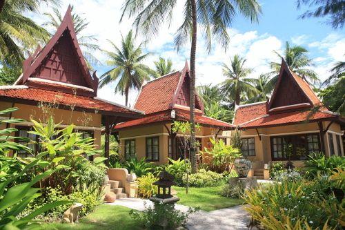 Территория отеля, утопающая в зелени