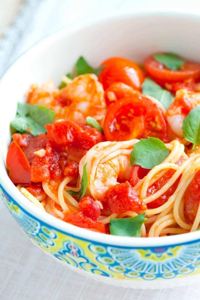 Рецепт спагетти с помидорами черри и креветками