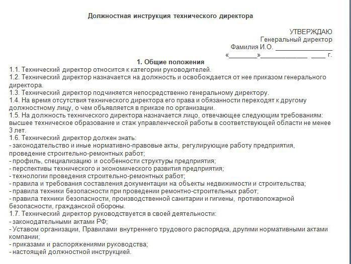 должностная инструкция технического директора образец