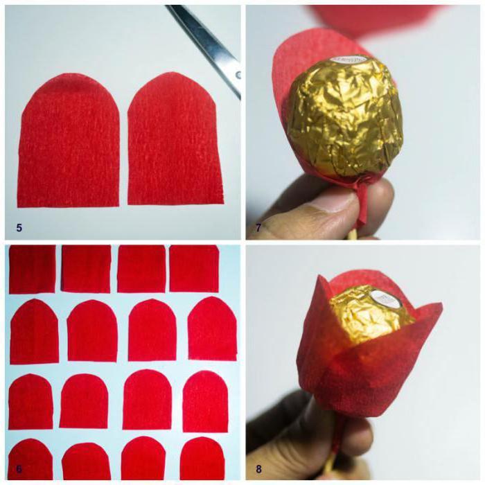 букет из конфет розы из гофрированной бумаги