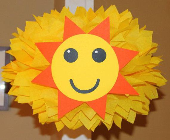 Аппликация солнышко из цветной бумаги