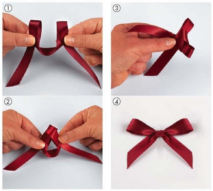 Как сделать бантик с двух ленточек