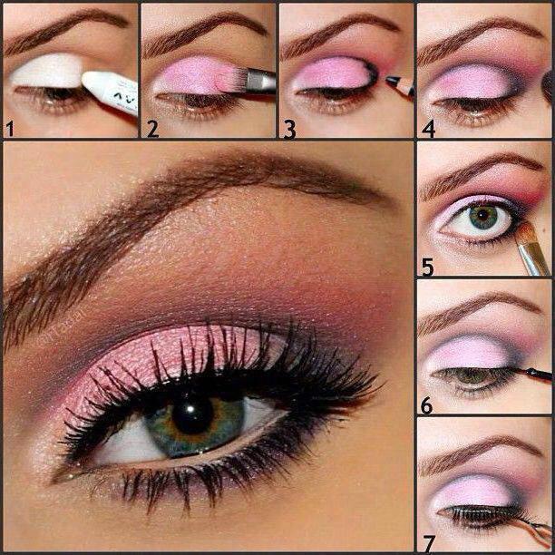 Макияж с розовыми тенями фото