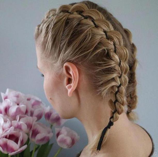 прическа из двух кос на короткие волосы