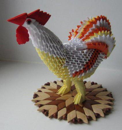 оригами петух из модулей пошагово