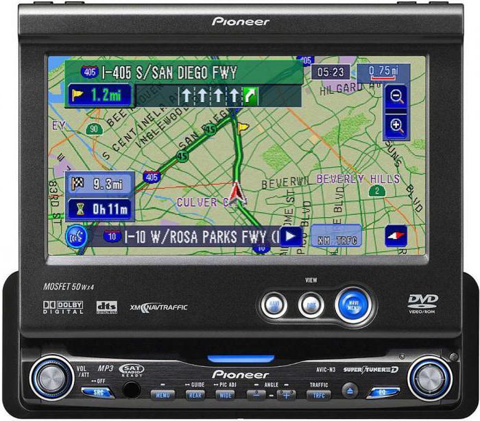 автомагнитола с выдвижным экраном и GPS