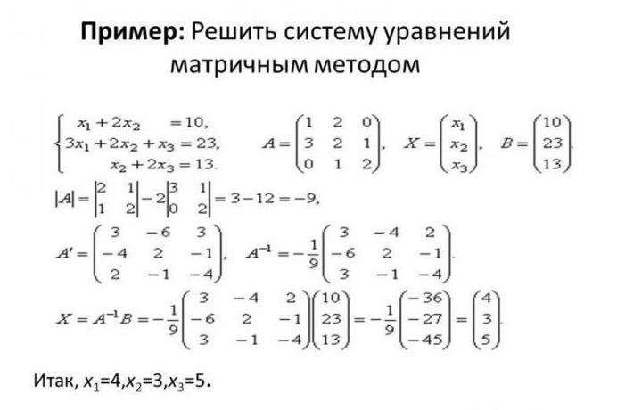 матричный метод решения систем линейных уравнений