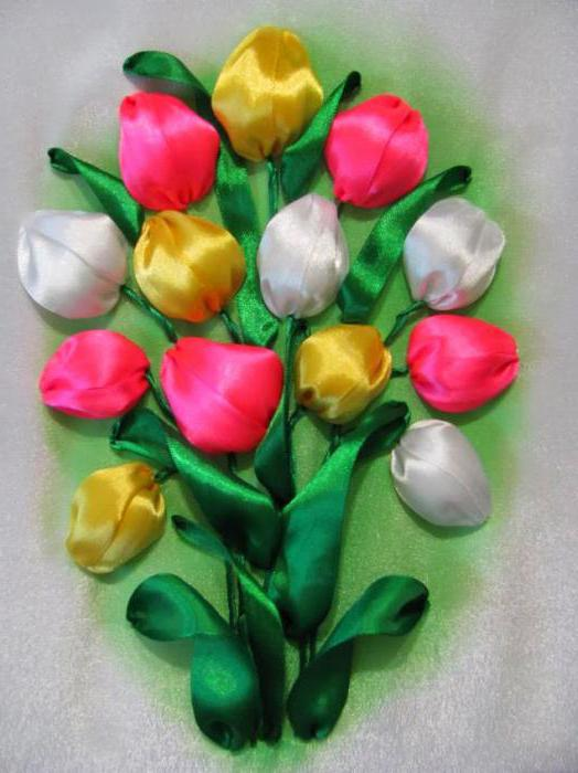 тюльпаны из атласных лент мастер класс