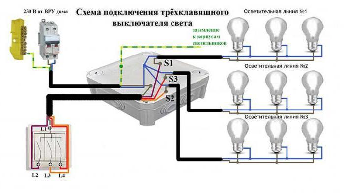 Люстра схема подключения тройной люстры