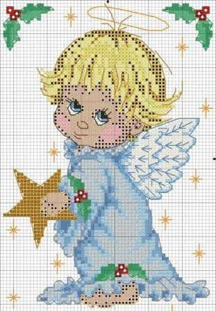 ангелочек схема вышивки крестом