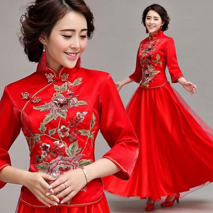 платье в китайском стиле пышное в пол