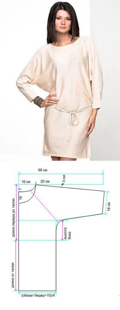 выкройка прямого платья с рукавом 3 4